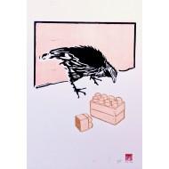 Strani incontri. Gallo con pezzi di lego
